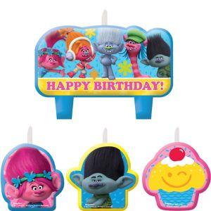 Trolls Birthday Candles 4ct
