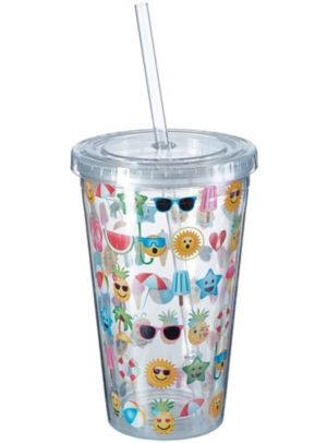 Summer Smiley Double Wall Tumbler with Straw