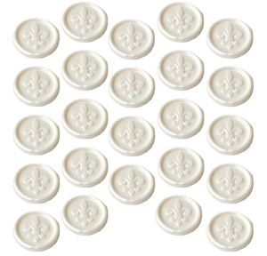 White Fleur-de-Lis Wax Envelope Seals 24ct