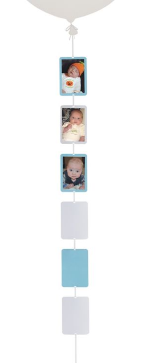 White & Light Blue Photo Balloon Weight Tail