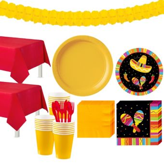 Bright Fiesta Tableware Kit for 32 Guests