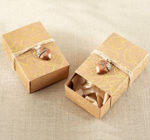 Metallic Gold Leaf Favor Boxes 24ct