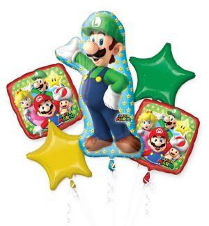 Giant Luigi Birthday Balloon Bouquet 5pc - Super Mario