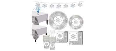 Metallic Sparkling Snowflake Tableware Kit for 16 Guests