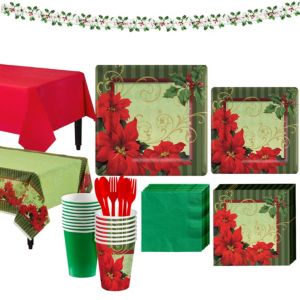 Vintage Poinsettia Tableware Kit for 18 Guests