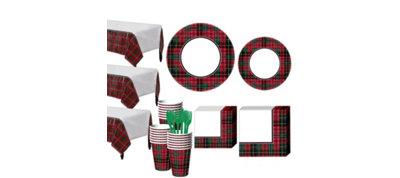 Holiday Plaid Tableware Kit for 50 Guests