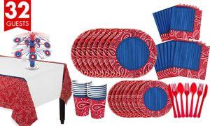 Bandana Western Tableware Kit for 32 Guests