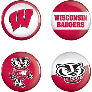 Wisconsin Badgers Buttons 4ct