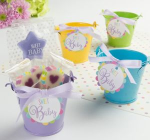 Gender-Neutral Metal Pail Baby Shower Favor Kit 8ct