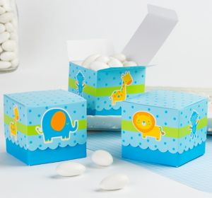 Blue Animal Baby Shower Favor Boxes 24ct