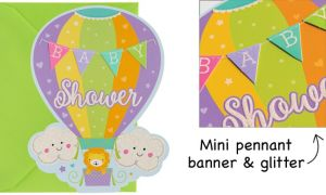 Premium Hot Air Balloon Baby Shower Invitations 8ct