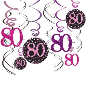 80th Birthday Swirl Decorations 12ct - Pink Sparkling Celebration