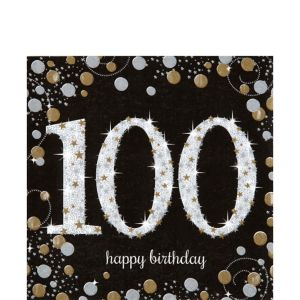 100th Birthday Lunch Napkins 16ct - Sparkling Celebration