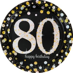 Prismatic 80th Birthday Lunch Plates 8ct - Sparkling Celebration