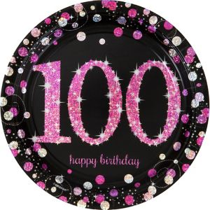 Prismatic 100th Birthday Lunch Plates 8ct - Pink Sparkling Celebration