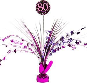 80th Birthday Spray Centerpiece - Pink Sparkling Celebration
