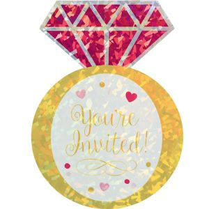 Prismatic Diamond Ring Bridal Shower Invitations 8ct