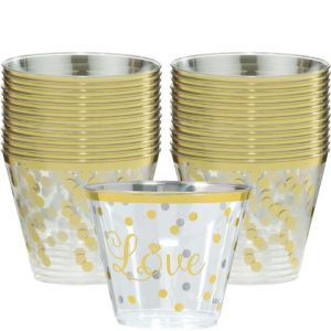 Sparkling Gold Wedding Plastic Cups 30ct