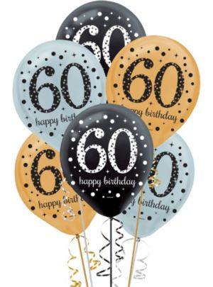 60th Birthday Balloons 15ct - Sparkling Celebration