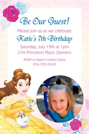 Custom Beauty and the Beast Photo Invitation