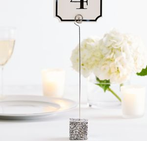 Glitter Silver Table Number Holder