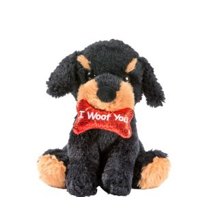 Black & Brown I Woof You Dog Plush