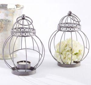 Vintage Bird Cage Lantern Tealight Candle Holder
