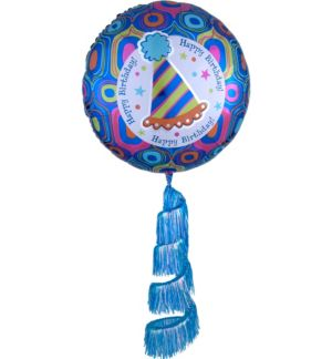 Giant Fringe Tail Retro Birthday Balloon