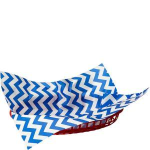 Bright Royal Blue Chevron Paper Basket Liners 16ct