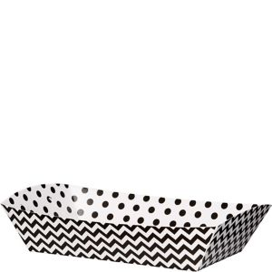Black Polka Dot & Chevron Rectangular Paper Food Trays 16ct