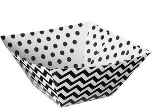 Black Polka Dot & Chevron Serving Bowls 3ct