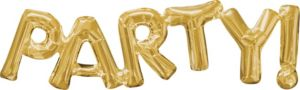 Air-Filled Gold Party Letter Balloon Banner
