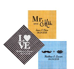 Personalized Wedding Gingham Beverage Napkins