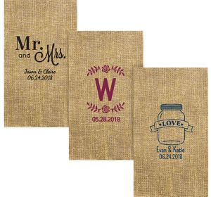 Personalized Wedding Burlap Print Guest Towels