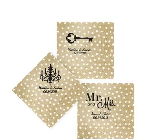 Personalized Wedding Small Dots Beverage Napkins