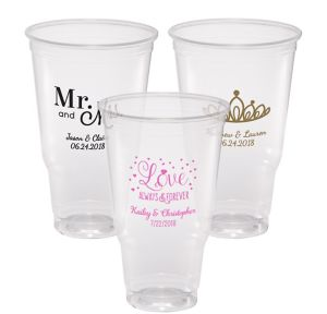 Personalized Wedding Plastic Party Cups 32oz