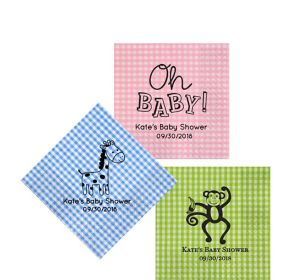 Personalized Baby Shower Gingham Beverage Napkins
