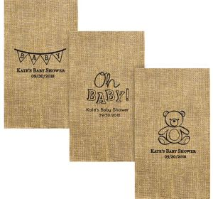 Personalized Baby Shower Burlap Print Guest Towels