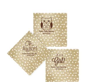 Personalized Baby Shower Small Dots Beverage Napkins