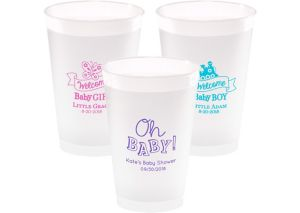 Personalized Baby Shower Frosted Plastic Shatterproof Cups 14oz