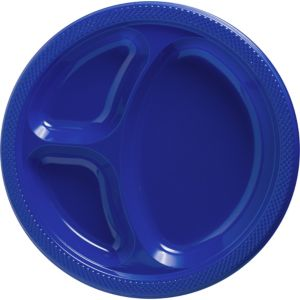 Big Party Pack Royal Blue Plastic Divided Dinner Plates 50ct
