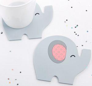 Pink Baby Elephant Coasters