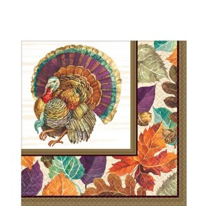 Traditional Thanksgiving Lunch Napkins 16ct