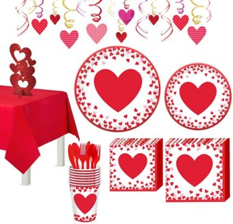 Confetti Hearts Valentine's Day Tableware Kit for 8 Guests