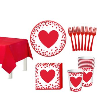 Confetti Hearts Valentine's Day Classroom Tableware Kit for 32 Guests