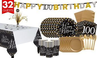 100th Birthday Sparkling Celebration Party Kit for 32 Guests