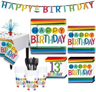 Rainbow 13th Birthday Party Kit for 32 Guests