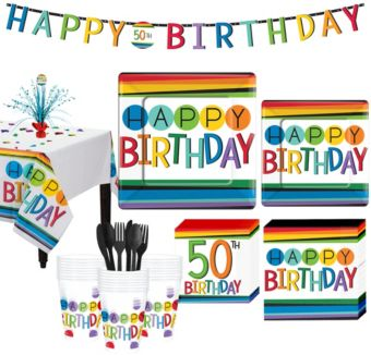 Rainbow 50th Birthday Party Kit for 32 Guests