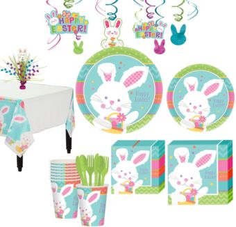 Hippity Hop Easter Bunny Tableware Kit for 8 Guests