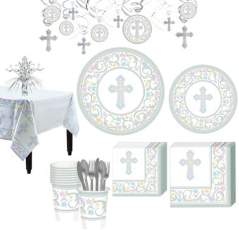 Blessed Day Religious Tableware Kit for 18 Guests